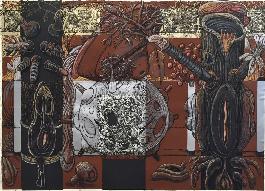 "Sandy Winters creates bizarre, organic and mechanical worlds in ""Creation and Destruction"""